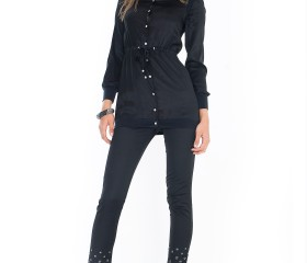 LEGGINS DA DONNA IN RASO NERO