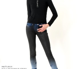 POLO DA DONNA IN JERSEY NERO